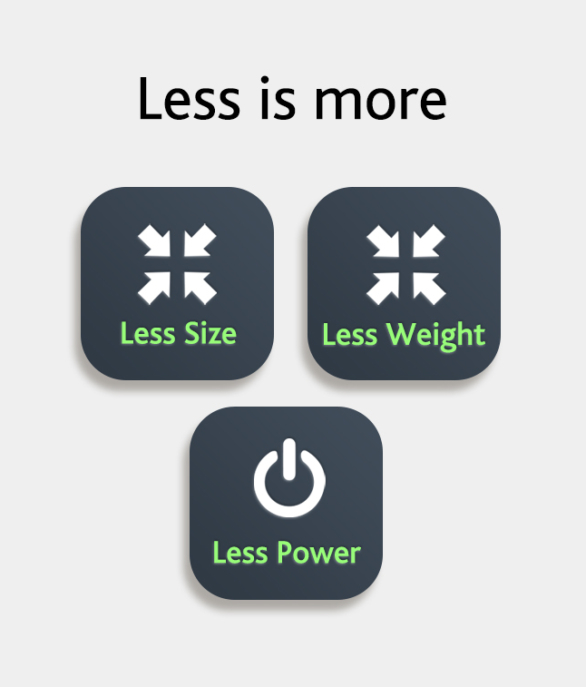 Less Size Less Weight Less Power